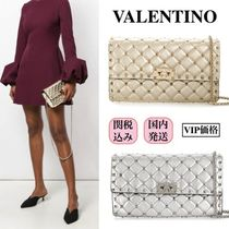 VALENTINO Lambskin Studded 2WAY Elegant Style Shoulder Bags