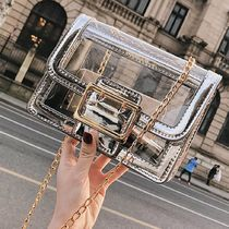 Casual Style Chain Plain Crystal Clear Bags PVC Clothing