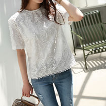 Flower Patterns Street Style Plain Cotton Medium