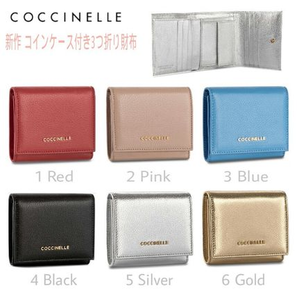 Blended Fabrics Plain Leather Folding Wallets