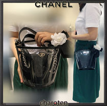 CHANEL ICON Blended Fabrics Bi-color Chain Crystal Clear Bags