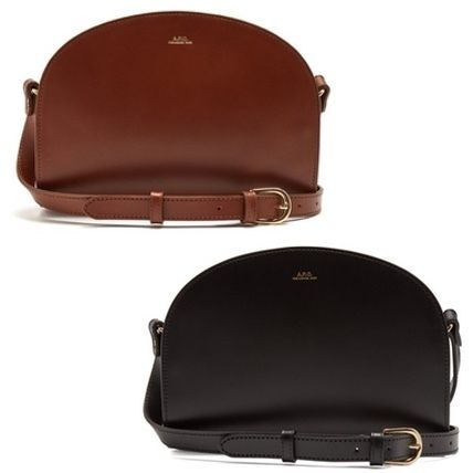 Plain Leather Elegant Style Shoulder Bags