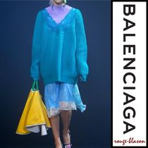BALENCIAGA Wool V-Neck Long Sleeves Plain Long Oversized Elegant Style