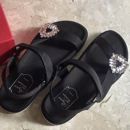 Open Toe Rubber Sole Plain Sport Sandals Flat Sandals
