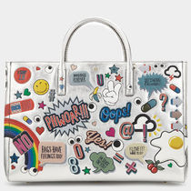 Anya Hindmarch Casual Style Calfskin Street Style A4 Leather Oversized Logo