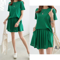 Short Casual Style Flared U-Neck Plain Cotton Short Sleeves