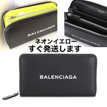BALENCIAGA EVERYDAY TOTE Unisex Bi-color Plain Leather Long Wallets