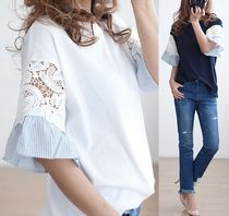 Flower Patterns Lace Puff Sleeves T-Shirts