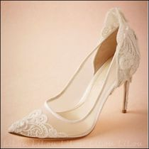 BHLDN Flower Patterns Plain Lace Shoes