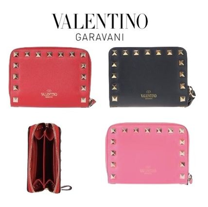Calfskin Studded Plain Coin Purses