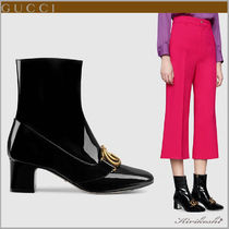 GUCCI GG Marmont Square Toe Casual Style Plain Leather Block Heels