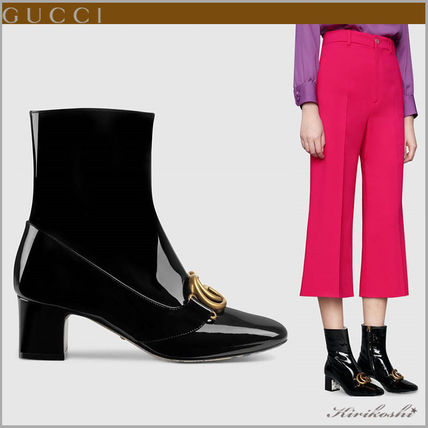 6bd70a90b ... GUCCI Ankle & Booties Square Toe Casual Style Plain Leather Block Heels  ...