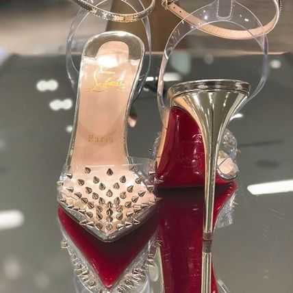 1a32fbc5b82 ... Christian Louboutin Heeled Blended Fabrics Studded Bi-color Plain Pin  Heels 3 ...