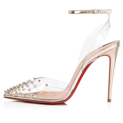 79ef229dd56 ... Christian Louboutin Heeled Blended Fabrics Studded Bi-color Plain Pin  Heels 5 ...