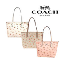Coach Flower Patterns A4 Leather Totes