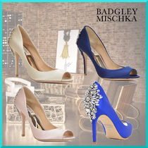 Badgley Mischka Open Toe Plain Pin Heels Party Style Stiletto Pumps & Mules
