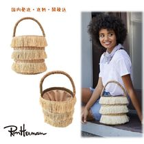 Ron Herman Casual Style Plain Fringes Straw Bags