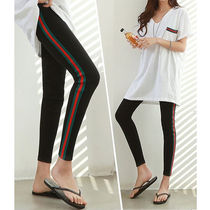 Stripes Street Style Plain Cotton Leggings Pants