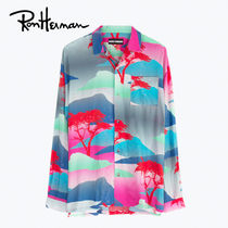 Ron Herman Tropical Patterns Unisex Long Sleeves Oversized Shirts