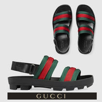 GUCCI Stripes Blended Fabrics Street Style Leather Sport Sandals