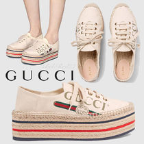 GUCCI Stripes Platform Round Toe Lace-up Casual Style