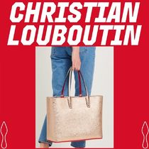 Christian Louboutin Unisex Studded Bag in Bag A4 Plain Leather Totes