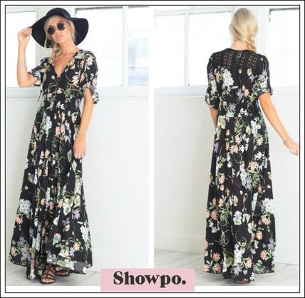 Flower Patterns Maxi Cropped Long Elegant Style Dresses
