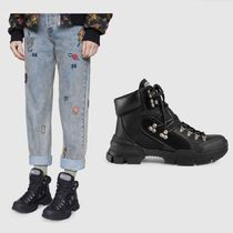 GUCCI Rubber Sole Street Style Plain Leather Elegant Style