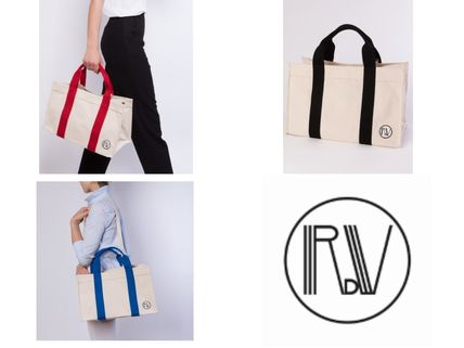 Casual Style Unisex Canvas 2WAY Plain Totes