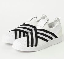 adidas SUPERSTAR Stripes Rubber Sole Casual Style Unisex Street Style Plain