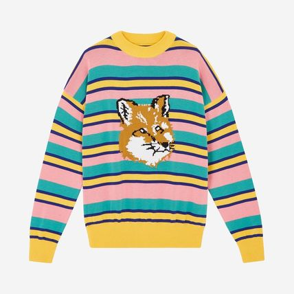Crew Neck Pullovers Stripes Unisex Long Sleeves