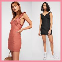 Free People Short Casual Style Tight Linen Sleeveless V-Neck Dresses