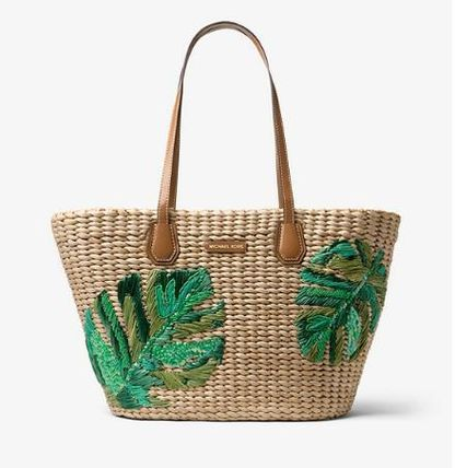 Michael Kors Straw Bags Tropical Patterns Casual Style A4