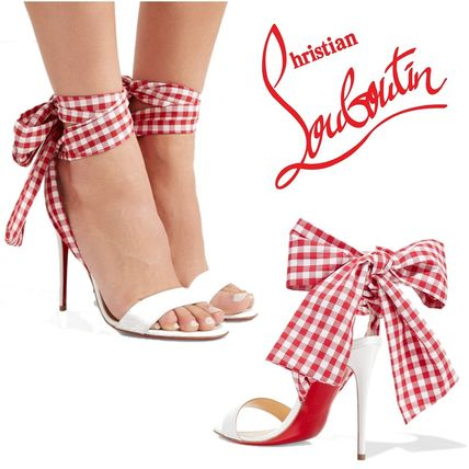 03ab2a47b11 Christian Louboutin 2018 SS Gingham Open Toe Blended Fabrics Leather Pin  Heels