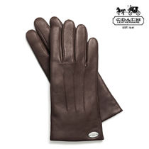 Coach Blended Fabrics Plain Leather Leather & Faux Leather Gloves