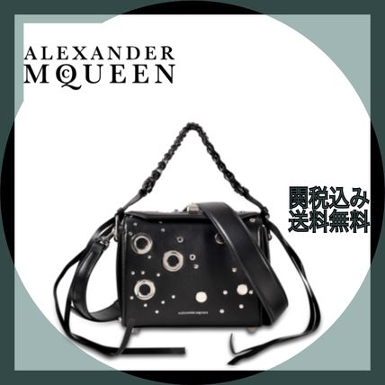 Calfskin Studded 2WAY Plain Party Style Shoulder Bags