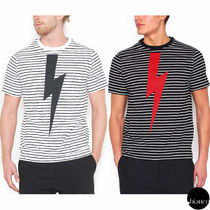 NeIL Barrett Crew Neck Stripes Street Style Cotton Short Sleeves