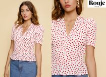 Rouje Heart Casual Style Puffed Sleeves V-Neck Bi-color