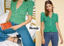 Rouje Heart Casual Style Puffed Sleeves Bi-color Shirts & Blouses
