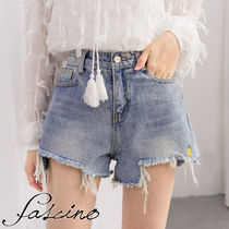 Short Tropical Patterns Casual Style Denim Street Style