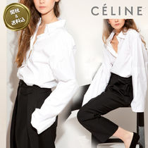 CELINE Long Sleeves Plain Cotton Oversized Elegant Style