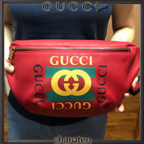 GUCCI Stripes Unisex Street Style Plain Leather Crossbody Bag