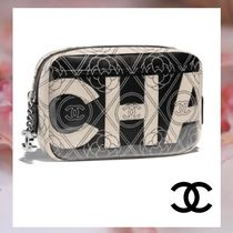 CHANEL Canvas Blended Fabrics Bi-color Chain Elegant Style