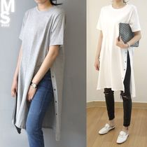 Casual Style A-line U-Neck Plain Cotton Long Short Sleeves