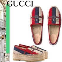 GUCCI Sylvie Stripes Pointed Toe Shoes