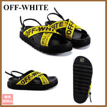 Off-White Open Toe Platform Casual Style Street Style Leather