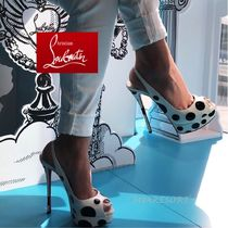 Christian Louboutin Dots Open Toe Blended Fabrics Leather Pin Heels