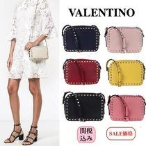 VALENTINO Calfskin Studded Plain Shoulder Bags