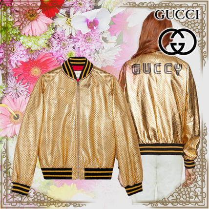 997907eb8 ... GUCCI Bomber Short Star Street Style Leather MA-1 Bomber Jackets ...