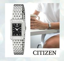 CITIZEN Square Quartz Watches Stainless Elegant Style Analog Watches
